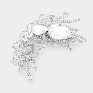 Curved Feather Clear Crystal Teardrop Brooch
